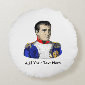 Napoleon Poster Style Drawing Round Pillow