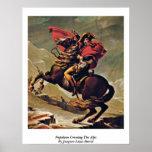 Napoleon que cruza las montañas de Jacques-Louis D Posters