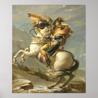 Napoleon que cruza las montañas en el St Bernard Póster