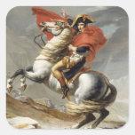 Napoleon que cruza las montañas - Jacques-Louis Pegatina Cuadrada