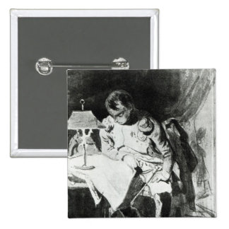 Napoleon que estudia sus mapas por la luz artifici pin cuadrado