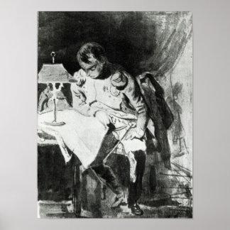 Napoleon que estudia sus mapas por la luz artifici póster