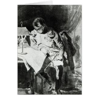 Napoleon que estudia sus mapas por la luz artifici tarjeta de felicitación