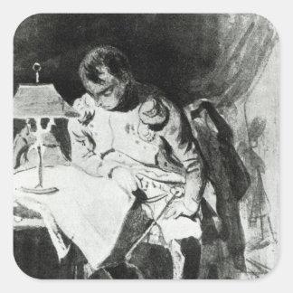 Napoleon que estudia sus mapas por la luz pegatina cuadrada