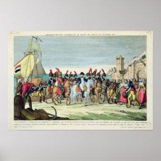 Napoleon que se va para el golf Juan, el 1 de marz Póster