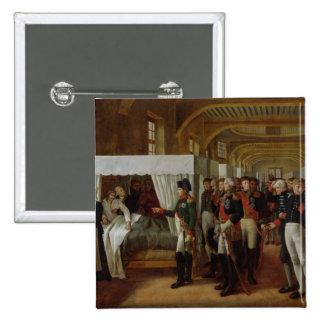 Napoleon que visita la enfermería de Invalides Pin Cuadrada 5 Cm