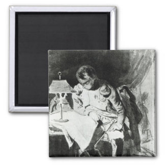 Napoleon studying his maps by lamplight, c.1800 2 inch square magnet