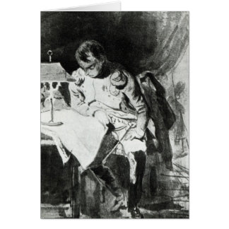 Napoleon studying his maps by lamplight, c.1800 greeting card