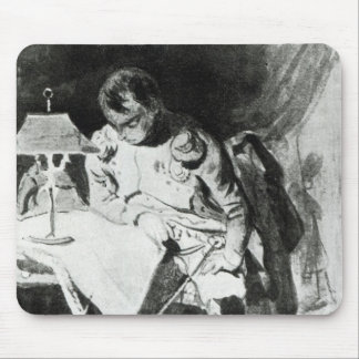 Napoleon studying his maps by lamplight, c.1800 mouse pad