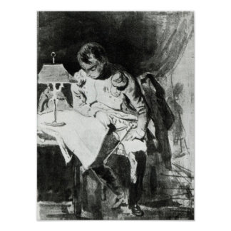 Napoleon studying his maps by lamplight, c.1800 poster