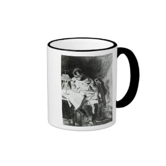 Napoleon studying his maps by lamplight, c.1800 ringer coffee mug