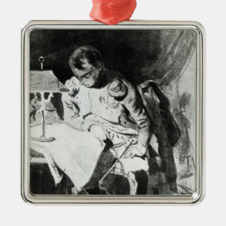 Napoleon studying his maps by lamplight, c.1800 square metal christmas ornament
