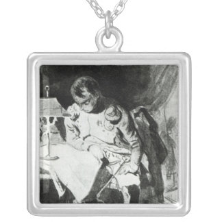 Napoleon studying his maps by lamplight, c.1800 square pendant necklace