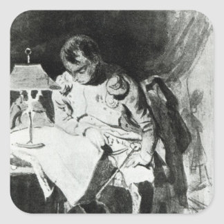 Napoleon studying his maps by lamplight, c.1800 square sticker