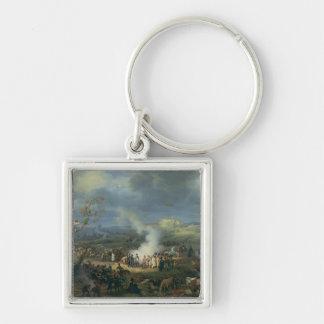 Napoleon  Visiting a Bivouac Silver-Colored Square Keychain