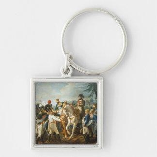 Napoleon y el Bavarian y el Wurttemberg Llavero Cuadrado Plateado