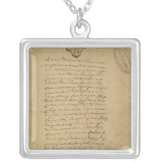 Napoleon's Birth Certificate, 1769 Square Pendant Necklace