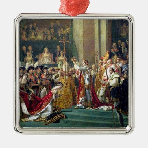 Napoleon's Consecration and Josephine's Square Metal Christmas Ornament