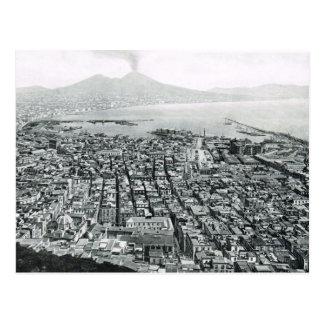 Nápoles, 1908, área de la costa y Vesuvio Postal