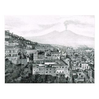 Nápoles, 1908, ciudad y el monte Vesubio Postal