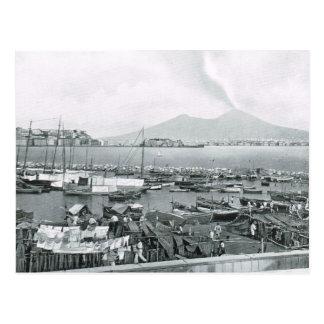 Nápoles, 1908, puerto con las casas flotantes y Ve Postal
