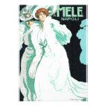 Napoli, E. y A. Mele y ci. Arte Nouveau del vintag Invitaciones Personales