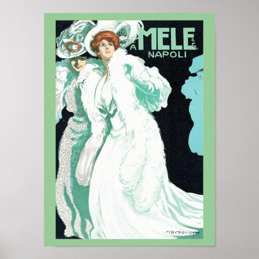 Napoli, E. y A. Mele y ci. Arte Nouveau del vintag Poster