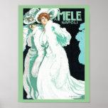 Napoli, E. y A. Mele y ci. Arte Nouveau del vintag Posters