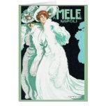 Napoli, E. y A. Mele y ci. Arte Nouveau del vintag Felicitacion