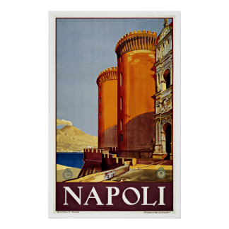 Napoli Italy Castel Nuovo Vintage Travel Posters