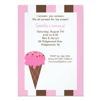 Napolitano Ice Cream Cone Birthday Invitation