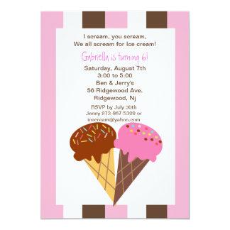 Napolitano Ice Cream Cones Birthday Invitation