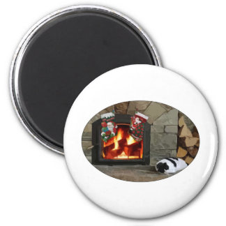 Napping by the Fireplace 2 Inch Round Magnet