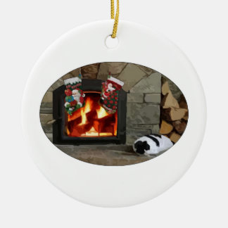 Napping by the Fireplace Christmas Ornament