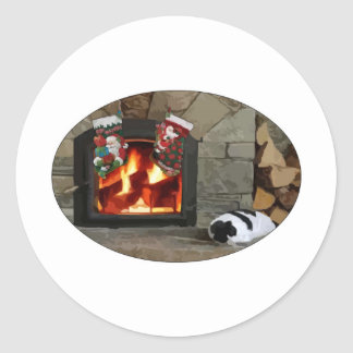 Napping by the Fireplace Classic Round Sticker
