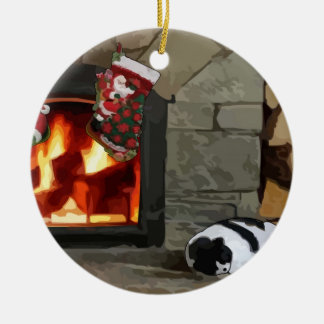 Napping by the Fireplace Double-Sided Ceramic Round Christmas Ornament