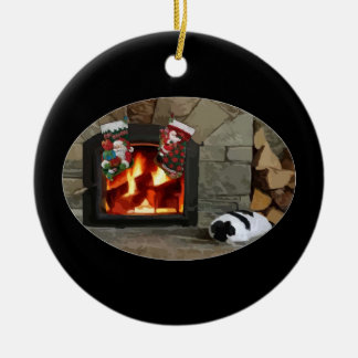 Napping by the Fireplace Ornaments