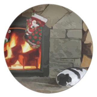 Napping by the Fireplace Plate