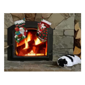 Napping by the Fireplace Postcard