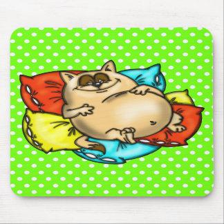 Napping Cartoon Cat Mousepad