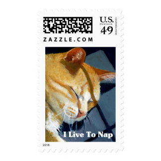 NAPPING CAT: I LIVE TO NAP POSTAGE STAMP