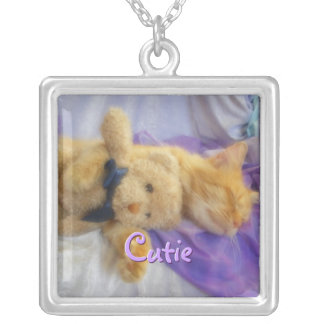 Napping Cat with Teddybear Necklace
