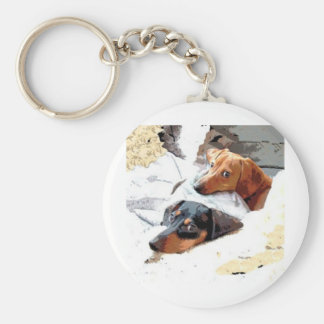 Napping Dogs Basic Round Button Keychain