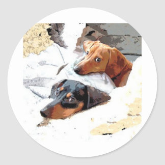 Napping Dogs Classic Round Sticker