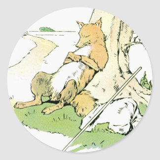 Napping Fox Leaning Against Tree Classic Round Sticker