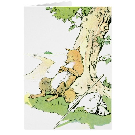 Napping Fox Leaning Against Tree Greeting Card