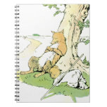 Napping Fox Leaning Against Tree Note Books