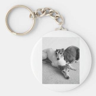 Napping Italian Greyhounds Basic Round Button Keychain