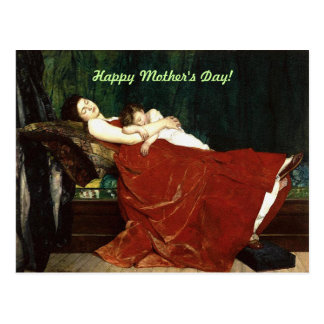 Napping Mother and Child Retro Look Postcard