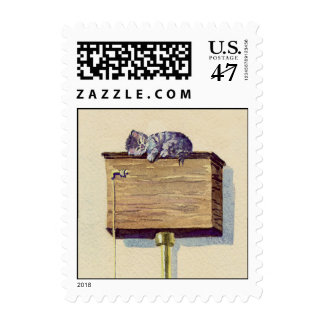 NAPPING on the WATER CLOSET by SHARON SHARPE Postage